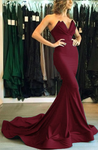 Elegant Strapless Burgundy Prom Dresses Mermaid Evening Dresses Long Women Satin Formal Gowns  cg6456