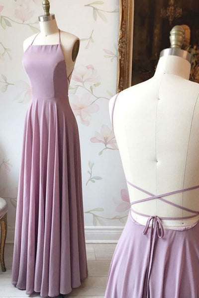 Simple backless chiffon long prom dress,Lilac evening dress   cg6468