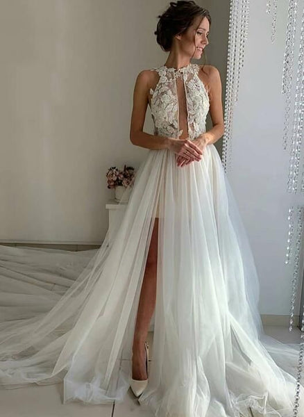 White tulle lace long prom dress, evening dress  cg6472
