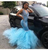 Sexy Mermaid Blue V Neck Tulle Prom Dresses With Appliques African American Prom Dresses  cg6480