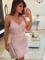 Sheath Spaghetti Straps Short Pink Lace Homecoming Cocktail Dress  cg649