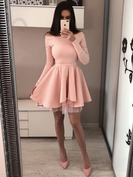 2019 Cheap Long Sleeves Black Red Pink Popular Junior Short A-line Freshman Homecoming Dresses cg64