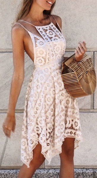 A-Line Spaghetti Straps Asymmetrical Ivory Lace Homecoming Dress cg650