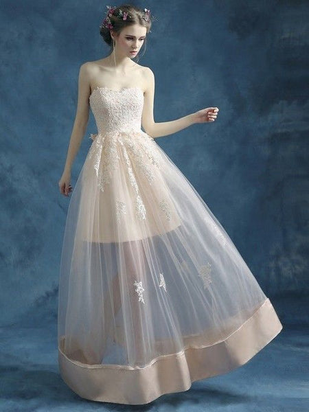 A-line Sweetheart Satin Tulle Floor-length Appliques Lace Perfect Prom Dresses  cg6510
