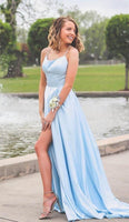 Light Blue Prom Dress with Slit, Evening Dress ,Winter Formal Dress, Pageant Dance Dresses, Graduation School Party Gown  cg6513