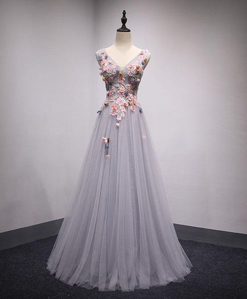 GRAY TULLE LONG A-LINE SENIOR PROM DRESS WITH PINK APPLIQUES  cg6517