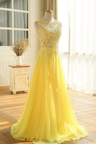 Yellow Floor Length A Line Beading Appliques Sashes Sleeveless Chiffon Long Prom Dress  cg6519