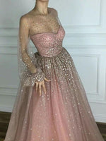 Sparkly Prom Dresses Scoop A line Floor-length Long Chic Prom Dress  cg6529