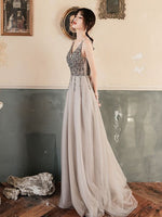 Classic A Line V Neck Gray Long Prom/Evening Dress with Beading  cg6537