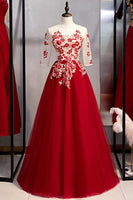 New Arrivals Burgundy Tulle 3/4 Sleeves Round Neck Lace Up Prom Dress With Applique  cg6539