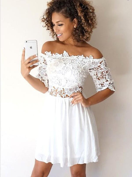 A-Line Off-the-Shoulder Half Sleeves White Lace Short Homecoming Dresses cg653