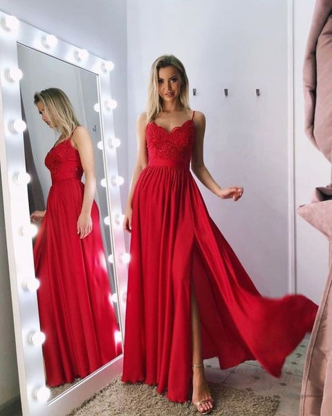 Sexy Straps Lace Chiffon Red Bridesmaid Dresses Long prom dress  cg6553