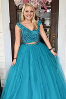 Two Piece Turquoise Beaded A Line Tulle Prom Dress  cg6557