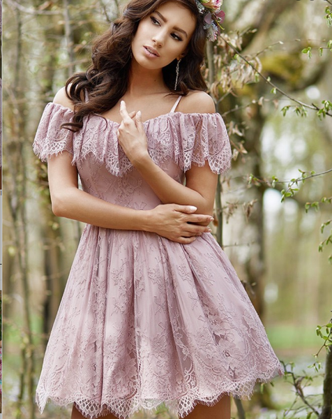 A-Line Purple Lace Homecoming Dress with Ruffles cg657