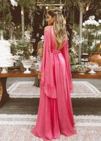 Sexy Deep V Collar Long-Sleeved Long Expansion Vacation Dress,Backless Evening Dress,Chiffon Prom Dress  cg6580