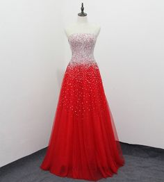 Red Sweetheart Long Tulle Prom Dresses with Beadings   cg6589