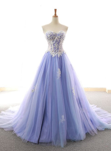 Purple Sweetheart Tulle Lace Appliques Wedding prom Dress  cg6591