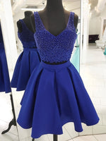 V Neck Beaded Royal Blue Two Piece Homecoming Dresses cg65