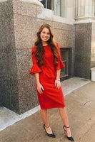 Red Bell Sleeve Knee Length Prom Dress   cg6601