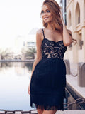 Sexy Sheath Spaghetti Straps Black Lace Homecoming Dress cg660