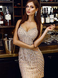 Sheath Spaghetti Straps Champagne Short Tight Homecoming Dress cg662