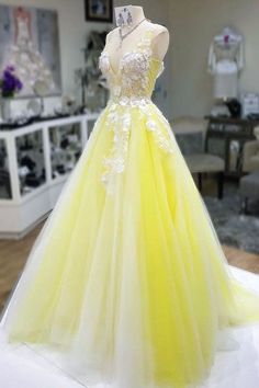 Yellow V Neck Long Prom Dress   cg6640