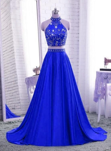 Royal Blue Two Piece Satin Party Dress, Blue Formal prom Dress, Evening Gowns  cg6663