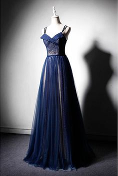 Navy Blue Tulle V Neck Long Women Prom Dress, Lace Up Evening Dress  cg6665
