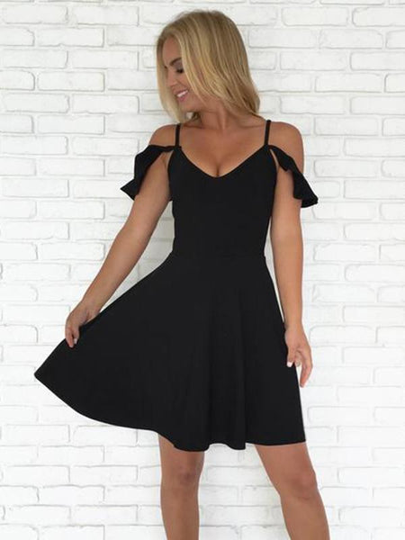 Simple A-Line Spaghetti Straps Black Short Homecoming Dresses cg666