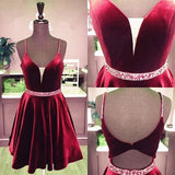 Plus Size Dresses, Cheap A Line Burgundy Sweetheart Spaghetti Straps Velvet Knee Length Short homecoming Dresses  cg6670