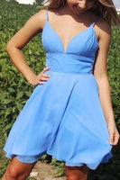 Simple Blue Chiffon Short Homecoming Dress  cg6671