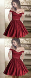 A-Line Off Shoulder Burgundy Homecoming Dresses With Beading cg668