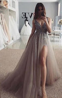 Grey Prom Dress Silver Beading, Ball Gown, Evening Dress,Birthday Party Gown,  cg6681