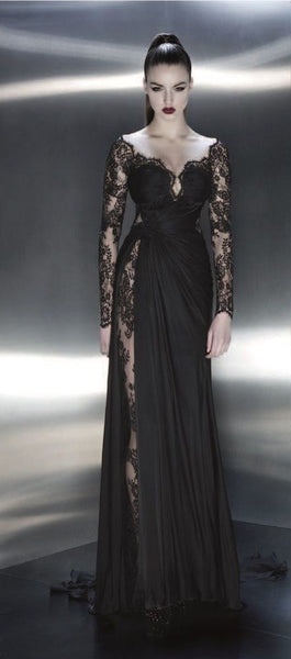 Charming Lady Dresses, Black Lace Long Sleeve Evening Dresses, Off the Shoulder Prom Dresses  cg6683