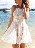 A-line Halter Lace Ivory Short Dress Party Dress simple popular homecoming dresses cg67