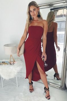 Modest Burgundy Prom Dress , Charming Prom Dress With Slit  cg6706