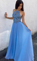 A-Line Round Neck Keyhole Blue Chiffon Prom Dress with Beading cg672