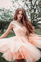 Stylish A Line Pink Short Homecoming Dresses with Beading   cg6733