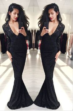 Mermaid Prom Dresses,Black Prom Dress,Long Sleeve Prom Dress,Lace Formal Gown  cg6734