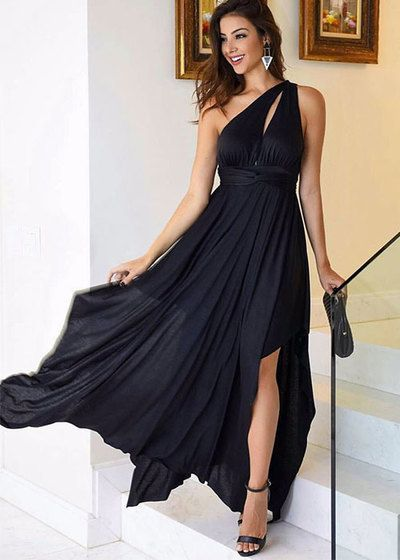 Black Chiffon One Shoulder Prom Dresses A-line Long Cheap Evening Formal Dress High Slit Sexy Party Dresses for Women  cg6742