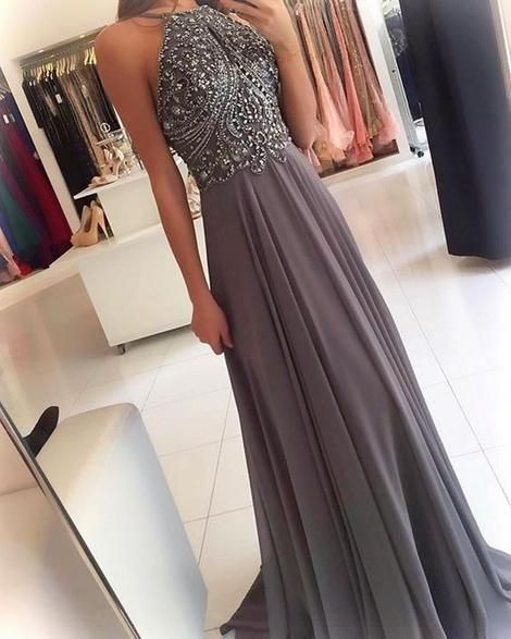 ackless A-line Beaded Chiffon Long Prom Dress Fashion Wedding Party Dress  cg674