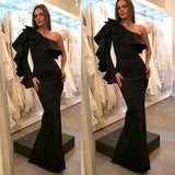 Black One Shoulder Sexy Mermaid Satin Long Prom Dresses  cg6765