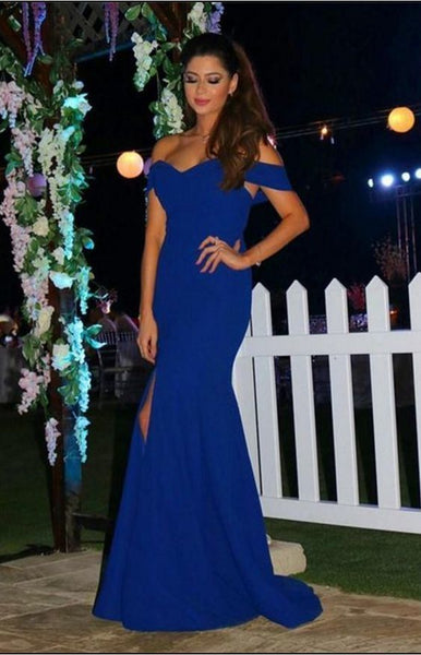 Sexy Off The Shoulder Prom Dresses,Long Royal Blue Prom Dress,Mermaid Evening Dress With Slit,Prom Dresses  cg6777