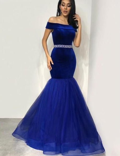Royal Blue party dress off shoulder evening dress mermaid beading long prom dress   cg6778