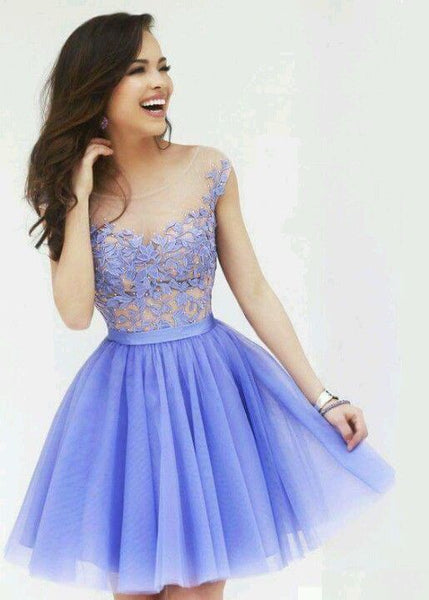 tulle lace Short Homecoming Dresses  cg6785