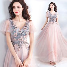Short Sleeve Appliques Lace Beading Sequins Floor-Length / Long Ruffle Backless Formal prom Dresses  cg6798