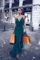 V-neckline Dark Green Prom Dress Women's Maxi Long Party Gown  cg6805
