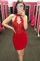 High Neck Tight Red Party homecoming Dress  cg6834