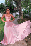Charming Pretty A-Line Straps Pink Prom Dress  cg683