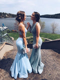 2019 Prom Dress,Blue Prom Dress,Mermaid Prom Dress cg684